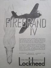 3/1946 PUB AUTOMOTIVE PRODUCTS LOCKHEED HYDRAULICS BLACKBURN FIREBRAND IV AD