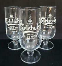 Three New Style Carlsberg Pilsner Lager Beer Pint Glasses NEW - Home Bar - Pub