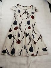 NEXT          size 12 TALL          CREAM  FLORAL  LINED  DRESS