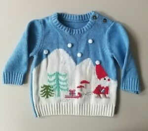 Baby M&S Christmas Jumper 0-3 Months Knitted Style Santa