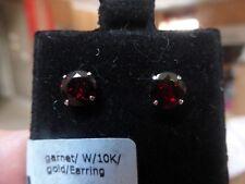 New10K Gold Garnet Stud Earrings