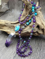 Chakra Stone Mala Beaded Rough Amethyst & Imperial Jasper Boho Necklace