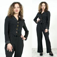 WOMENS VINTAGE 80'S EIGHTIES BLACK SMART TUXEDO STYLE JUMPSUIT ROMPER 12