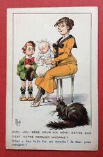 CPA ou CPSM. Illustrateur MICH. Bambins. Humour. Bébé. Mère. Chat. N° 7033