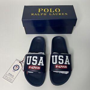Polo Ralph Lauren 2020 Tokyo Olympics USA Navy Cayson Slide Sandal Men Sz 8 NIB