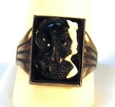 Vintage Men's Sterling Silver Twin Greek Warrior Cameo Ring