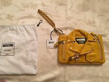 $1395 MSRP AW15 Moschino Couture Jeremy Scott Yellow Biker Jacket Clutch CUTE!