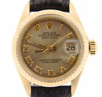 Ladies Rolex Solid 18K Yellow Gold Datejust Watch Leather Band Slate Dial 6917
