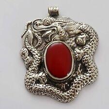 PDS484 Tibetan Nepalese Artisan Handmade Metal Resin Dragon Carving Pendant