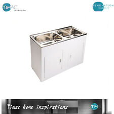 Double Bowl 90l Stainless Steel Laundry Tub With Adjustable Legs