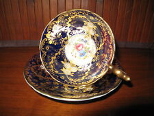 Aynsley Tea Cup & Saucer Gold Encrusted Cobalt Blue (D)