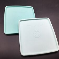 2 Tupperware Square Away Replacement Lids #671 Vintage Aqua Blue Mint Green