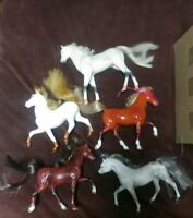 Lot Of 5 Vintage Toy Horses Some with Manes Different Materials Rare Toys Neat