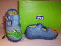 Scarpe scarpine sandali Chicco neonato bimbo bambino primi passi tela blu 20 27