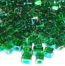 SB8265 Emerald Green AB Rainbow 4mm Square Cube Miyuki Glass Seed Beads 25-grams