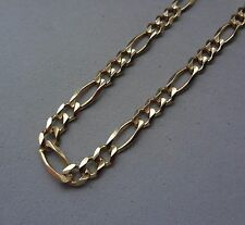 AZN ITALY 14K YELLOW GOLD 4.6mm DIAMOND-CUT FIGARO CHAIN LINK NECKLACE - 17 GR