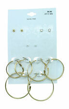 New 6 Pair Earring Set of Gold Hoops & Studs nwt # E1259