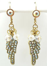 KIRKS FOLLY PETITE BEADED FLY HOME ANGEL WING LEVERBACK EARRINGS GOLDTONE