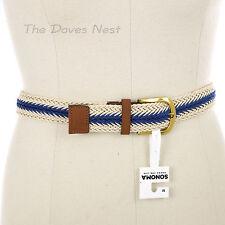 SONOMA Womens MEDIUM Braided WHITE & BLUE BELT Faux TAN LEATHER GOLD Tone Buckle