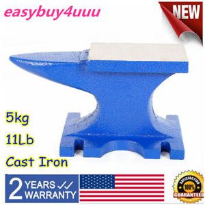 Blue 11Lb Cast Iron Anvil Rugged Round Horn Anvil Tool for Jeweler Blacksmith