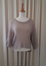 WITCHERY Womens Knit Cropped Jumper Top Grey / Stone  Size S 10 GUC