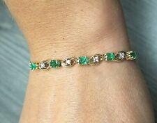14K Yellow Gold Oval Emerald & Round Diamond Curb Bracelet