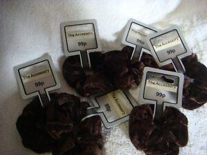 Velvet scrunchie brown pack of 6 soft feel hair scrunchies