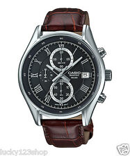 BEM-512L-1A Black Casio Men's Watches Leather Band Chronograph Beside New