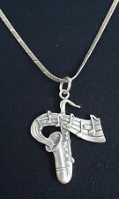 """Sterling Silver 17"""" Herringbone Necklace & Saxophone Music Notes Pendant - 11.1g"""