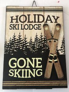 """NEW Wood Christmas Wall Yard Sign SKI """" HOLIDAY SKI LODGE GONE SKIING """" 14 x 10"""