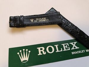 vintage authentic rolex black genuine crocodile 20 mm strap 🇨🇭beautiful