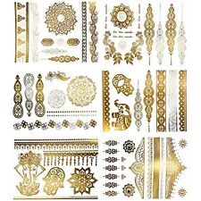 Metallic Henna Temporary Tattoos Over 75 Mandala, Mehndi, Boho In Gold Silver (6