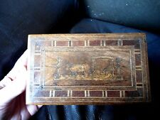 LATE VICTORIAN PORTUGESE/ MADEIRAN INLAID WOODEN BOX WITH LOCK - NO KEY (R2)