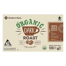 Organic Dark Roast Coffee Pods Member's Mark 100 Single Serve Cups