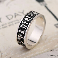 Nordic Viking Retro Norse Mens Gothic Rings Punk Runic Band Runes Free Shipping