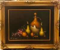 Roger Van Damme Still Life Oil on Canvas Painting Gilt Wood Frame Signed