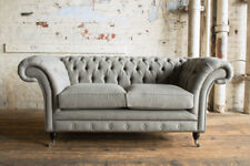 MODERN HANDMADE 2 SEATER WARM GREY WOOL CHESTERFIELD SOFA COUCH CHAIR