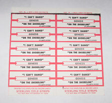 Genesis Full Sheet of 10 Jukebox Title Strips I Can't Dance & On The Shoreline