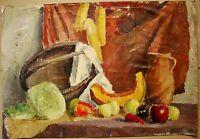 Russian Ukrainian Soviet Oil Painting Still-life realism pumpkin basket 1950s