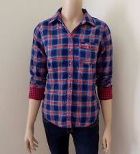 NWT Hollister Womens Plaid Shirt Size Small Top Button Down Blouse Blue & Red