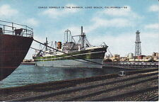Cargo Vessels In The Harbor, Long Beach, CA , Linen Postcard