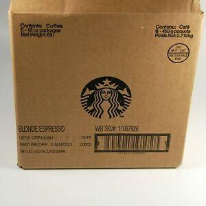 6x 1-LB Bags Starbucks Blonde Espresso Whole Bean Coffee In Date MARCH 2021