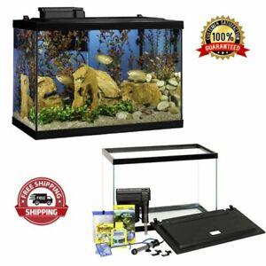20 Gallon Starter Fish Aquarium Tank Kit With Filter Heater & Plants Home LED