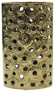 23cm Gold Metal Decorative Table Flower Vase With Holes Modern Home Decoration