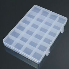 24 Compartments Clear Plastic Box Jewelry Bead Storage Container Craft Organizer