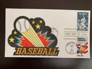 US FDC #2046 Babe Ruth/Roberto Clemente Baseball Hand Painted DRC Color Cachet
