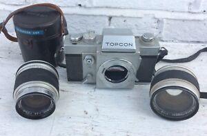 Vintage Topcon RE Super Camera & RE Auto Topcor Lenses 58mm 1:1.4 & 35mm 1:2.8