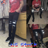 NEW Fashion Men's Denim Pants Reflective Jeans Ripped Pencil Trousers Casual US