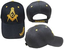 Freemason Black Embroidered Adjustable Hat Mason Masonic Lodge Baseball Cap