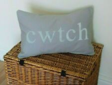 CWTCH CUSHION COVERS GREY SILVER HAND STENCILLED  WELSH HUG RECTANGLE OBLONG  **